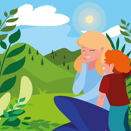 beautiful mother with son in the landscape vector illustration design Çizim