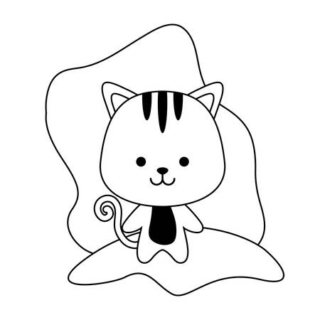 cute tiger animal isolated icon vector illustration design Illustration