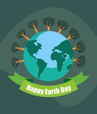 world trees forest banner happy earth day vector illustration Çizim