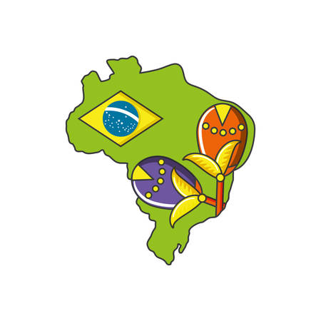 carnival maracas with map of brazil vector illustration design
