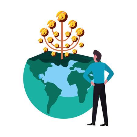 businessman money world tree coins vector illustration Çizim