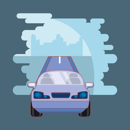 Car driving on the city road vector illustration Banque d'images - 130939394
