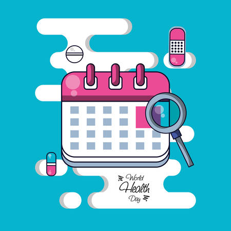 World health day with calendar reminder and set icons vector illustration design Vektorové ilustrace