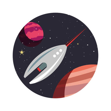 Spaceship planets exploration astronomy vector illustration design Illustration