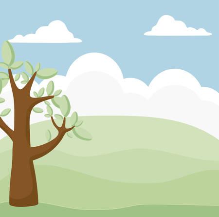 landscape scene nature with tree plant vector illustration design Ilustração