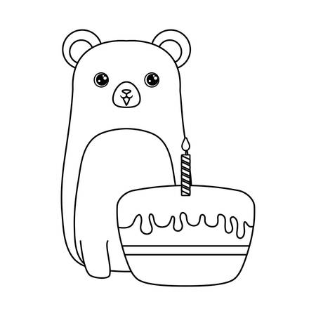 cute bear animal with cake of birthday vector illustration design