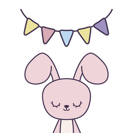 cute rabbit with garlands hanging vector illustration design Illustration