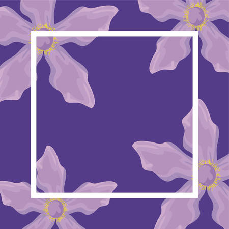 pattern of flowers and square frame vector illustration design
