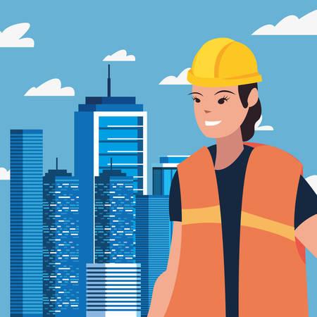 worker woman employee labour day vector illustration Çizim