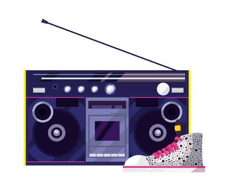 Stereo music retro 80s vector illustration Stock Illustratie