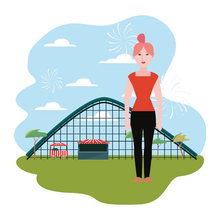 Woman roller coaster in the park amusement vector illustration