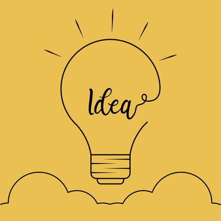 Light bulb idea with cloud vector illustration design
