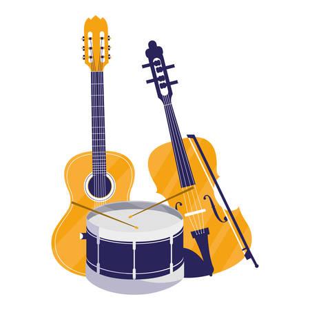 guitar and fiddle instruments musical vector illustration design