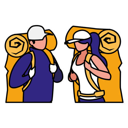 Adventurous couple with travel bag vector illustration design