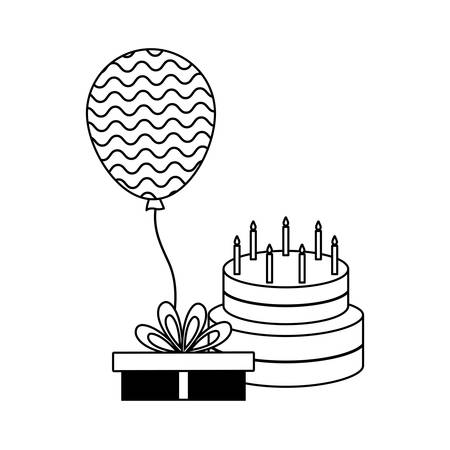 Cake of birthday with gift box and balloon helium vector illustration design