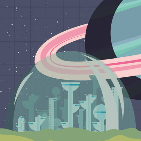 Futuristic city outer planet exploration vector illustration