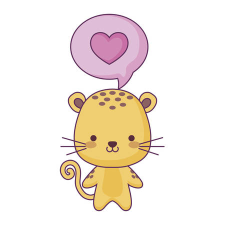 cute tiger animal and speech bubble with heart vector illustration design Çizim