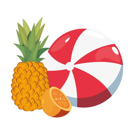 Summer time holiday beach ball orange pineapple vector illustration
