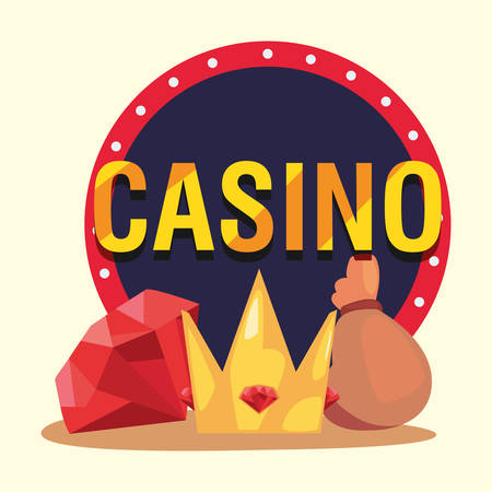 Diamond crown and money bag casino game bets vector illustration