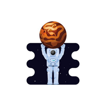 Mercury planet with astronaut scene space vector illustration design 矢量图像