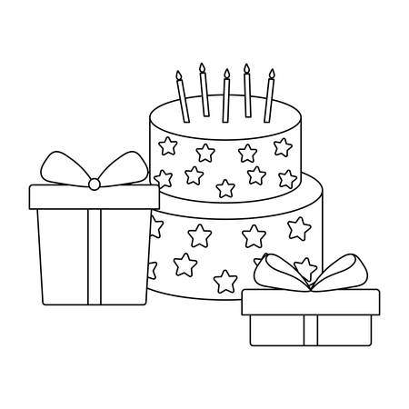 Sweet cake with candles and gifts boxes vector illustration design