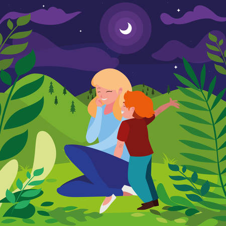 beautiful mother with son in the landscape at night vector illustration design Standard-Bild - 130718208