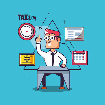 tax day with businessman and set icons vector illustration design Stock Illustratie