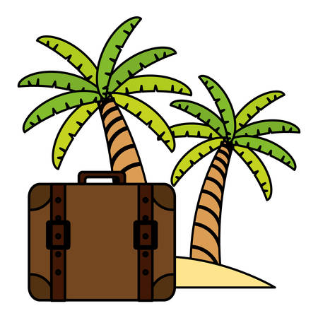 suitcase travel with trees palms vector illustration design