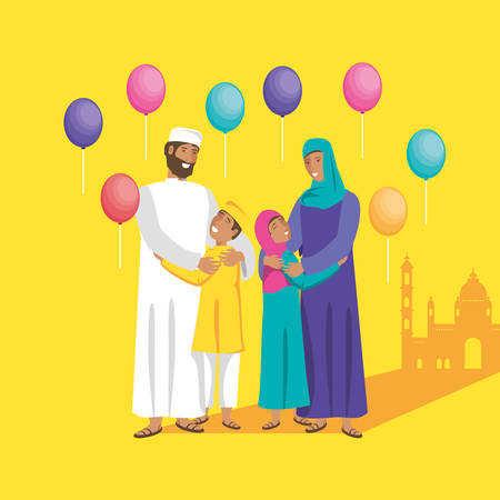 islamic family with kids and balloons helium vector illustration design Banco de Imagens - 130751937