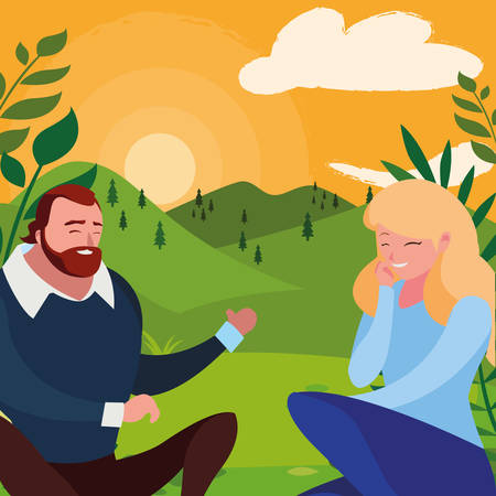 young couple seated in the field vector illustration design Banco de Imagens - 130751873