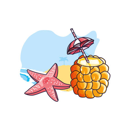 cocktail of pineapple in the beach with starfish vector illustration design