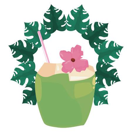 summer time holiday coconut tropical frame vector illustration