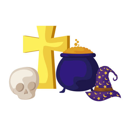 wizard hat with icons halloween vector illustration design