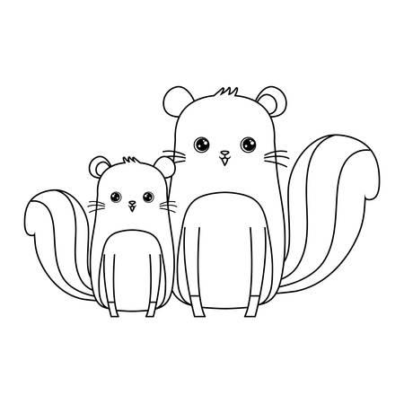 cute chipmunks animals icon vector illustration design