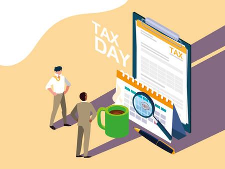 businessmen in tax day with clipboard and icons vector illustration design