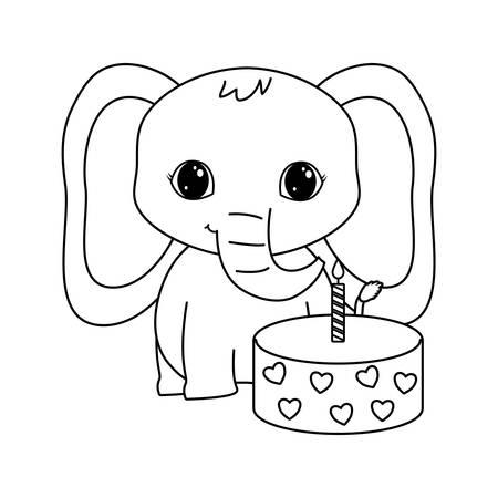 cute elephant animal with cake of birthday vector illustration design Illustration
