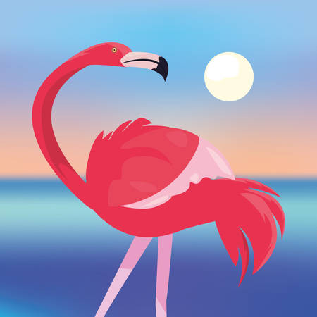summer time holiday flamingo sunset sea background vector illustration Banco de Imagens - 130751750