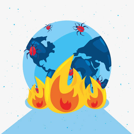 world virus fire attack cybersecurity data protection vector illustration