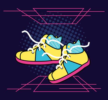 shoes tennis of nineties retro vector illustration design