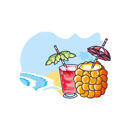 cocktail of pineapple with glass of juice in the beach vector illustration design