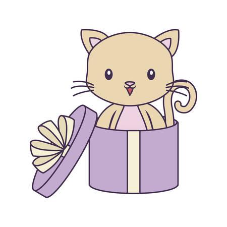 cute cat animal in gift box vector illustration design