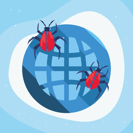 world virus bugs cyber security vector illustration
