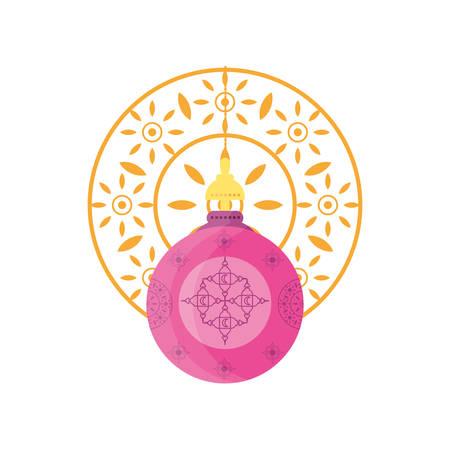 ramadan kareem lantern hanging with mandala vector illustration design Иллюстрация
