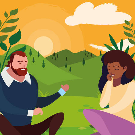 interracial young couple seated in the field vector illustration design Banco de Imagens - 130751224