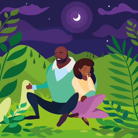 black couple seated in the field at night vector illustration design