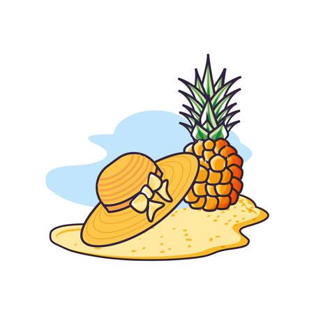 hat female wicker in the beach with pineapple vector illustration design Banco de Imagens - 130750964