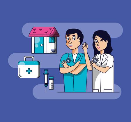 professional surgeons with set icons vector illustration design Illustration