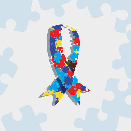 autism day campaign colored ribbon shaped pieces vector illustration