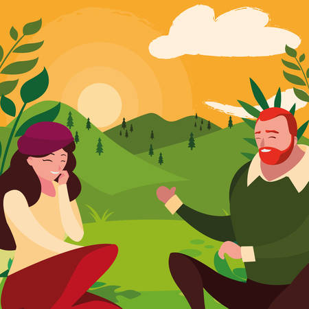 young couple seated in the field vector illustration design Banco de Imagens - 130750725