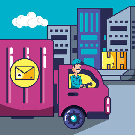 delivery service worker with truck vector illustration design